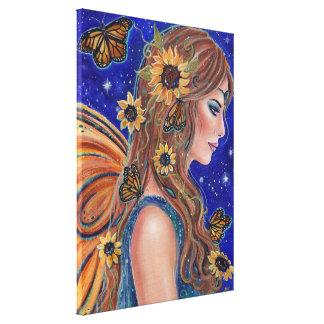 Sonnenblumefee mit Schmetterlingskunst durch Renee Leinwanddruck