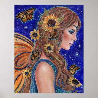 Sonnenblumefee mit Schmetterlingskunst durch Renee Poster