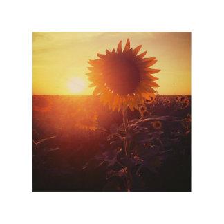 Sonnenblumefeld-Holzkunst mit zwei Sonnen Holzleinwand