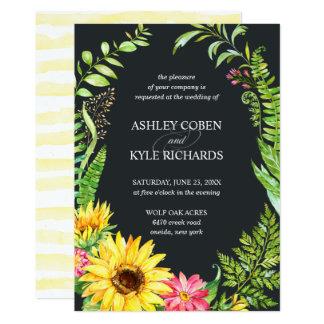 Sonnenblumehochzeitseinladung mit dunklem karte