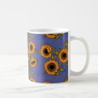 Sonnenblumen auf Blau Tasse