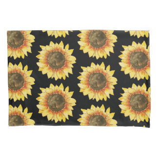 Sunflowers on Black Pillowcase