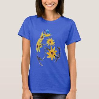 Sonnenblumen Bluetit Blumenkunst T-Shirt