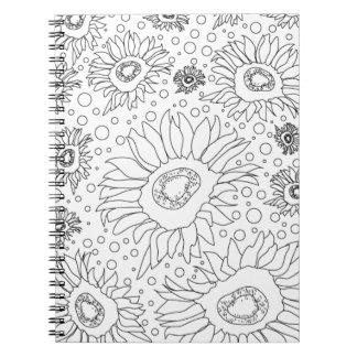 Sonnenblumen, die Seite färben Spiral Notizblock