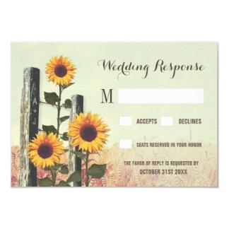 Sonnenblumen geschnitzte Zaun-Posten-Hochzeit UAWG 8,9 X 12,7 Cm Einladungskarte