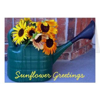 Sonnenblumen in einer Gießkanne Karte