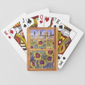 Sonnenblumen in Spielkarten Toskana-Fensters