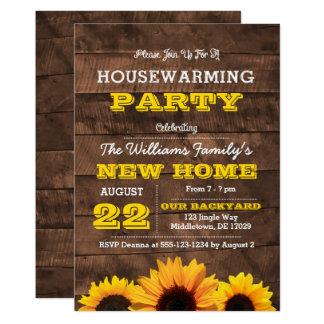 Sonnenblumen und Barnwood Housewarming-Einladung 12,7 X 17,8 Cm Einladungskarte