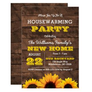 Sonnenblumen und Barnwood Housewarming-Einladung 8,9 X 12,7 Cm Einladungskarte