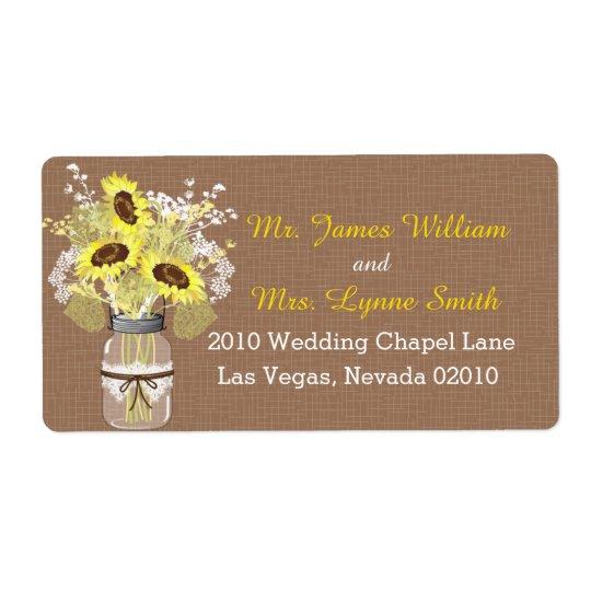 Sonnenblumen und Spitze-Hochzeits-Aufkleber Großer Adressaufkleber