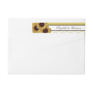 Sonnenblumen und Vintage Spitze-Hochzeit Absender Adressband