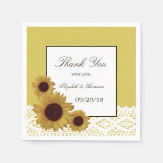 Sonnenblumen und Vintage Spitze-Hochzeit Servietten