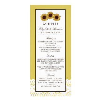 Sonnenblumen und Vintages Spitze-Hochzeits-Menü Werbekarte