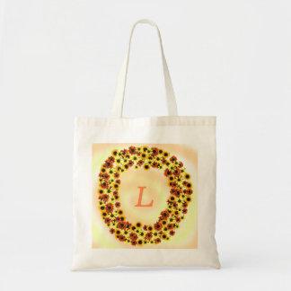 Sonnenblumen winden Monogramm-Taschen-Taschen Tragetasche