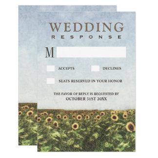 Sonnenblumewatercolor-Land-Hochzeit UAWG Karten 8,9 X 12,7 Cm Einladungskarte