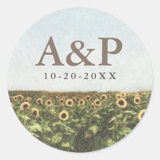 Sonnenblumewatercolor-Land-rustikale Gastgeschenke Runder Aufkleber