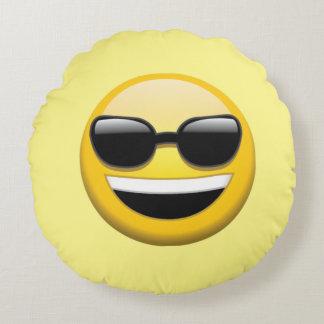 Sonnenbrille Emoji rundes Wurfs-Kissen Rundes Kissen