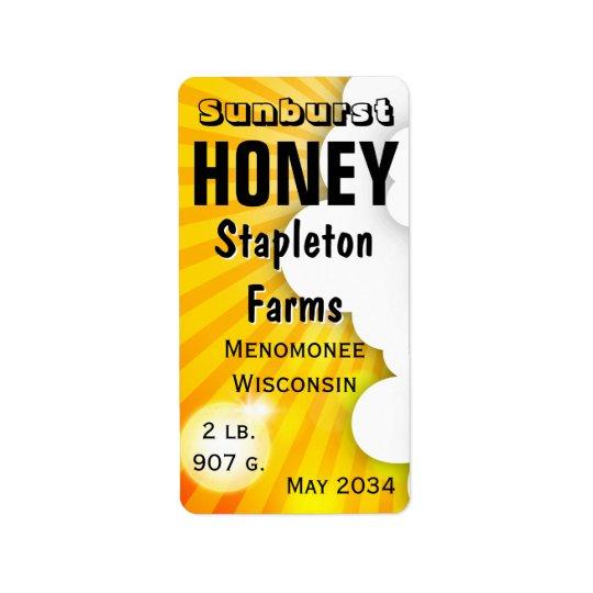 Sonnendurchbruch-Honig-Glas personalisiert Adressetikett