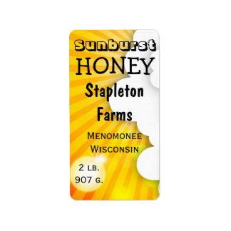 Sonnendurchbruch-Marken-Honig-Glas personalisiert Adressaufkleber