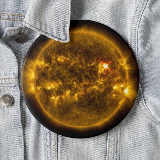 Sonneneruptionen auf dem Weltraum-Tunnel-bohrwagen Runder Button 15,3 Cm