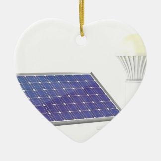 Sonnenkollektor und Glühlampe Keramik Herz-Ornament