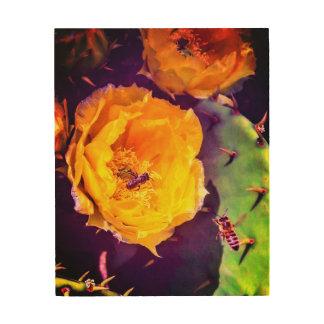 Sonnenschein, Blumen und Bienen Holzdruck