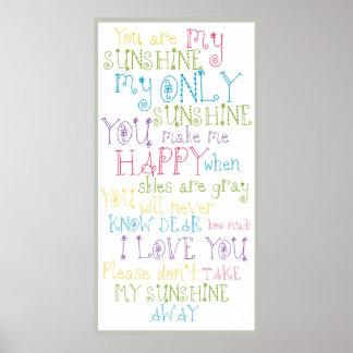 Sonnenschein-Gedicht-buntes Text-Entwurfs-Plakat Poster