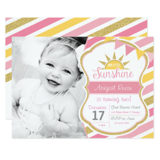 Sonnenschein-Glitter-Geburtstags-Einladung Karte