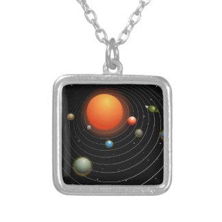 Sonnensystem-Grafik Versilberte Kette