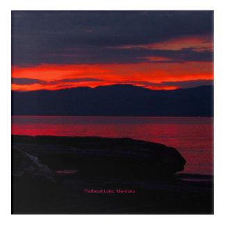 "Sonnenuntergang 12"" des Flachkopfsee-, Montana Acryldruck"