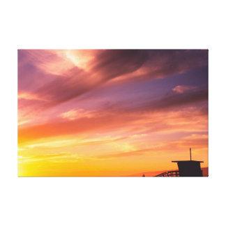 Sonnenuntergang am Strand Leinwanddruck