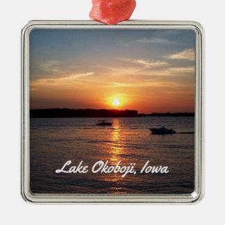 Sonnenuntergang auf See Okoboji, Iowa Silbernes Ornament