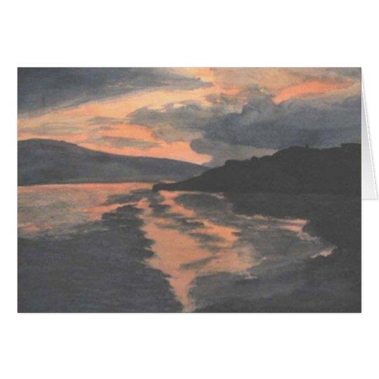 Sonnenuntergang auf Wasser Mitteilungskarte