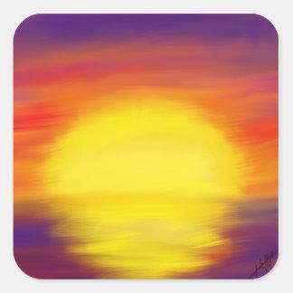 Sonnenuntergang-Aufkleber Quadratischer Aufkleber