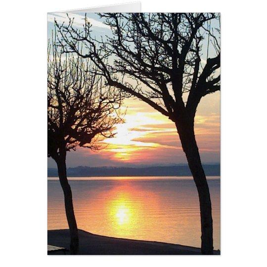 Sonnenuntergang,Bäume und See, Grusskarte, blanko Karte