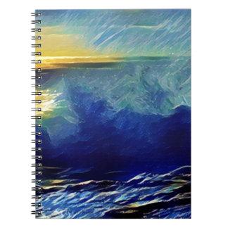 Sonnenuntergang-Brandung Makaha Notizblock