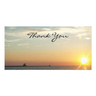 Sonnenuntergang danken Ihnen Fotokarte