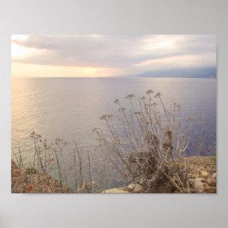 Sonnenuntergang durch das Meer Poster