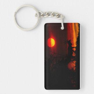 Sonnenuntergang-Elche Einseitiger Rechteckiger Acryl Schlüsselanhänger