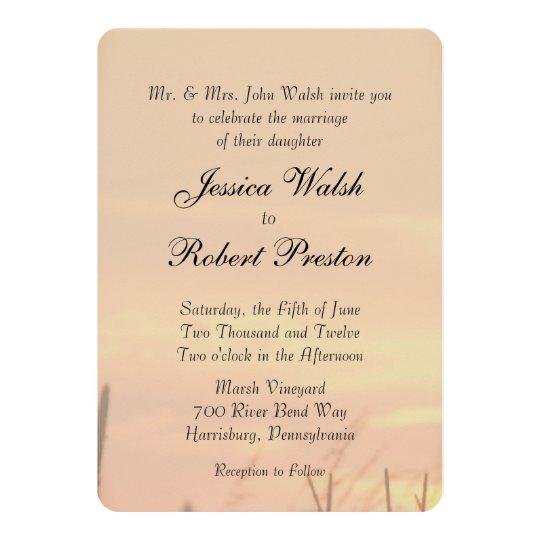 Sonnenuntergang-Feld-Hochzeit 12,7 X 17,8 Cm Einladungskarte