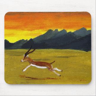 Sonnenuntergang-Gazellentierkunst Mousepads