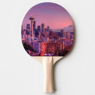 Sonnenuntergang hinter Seattle-Skylinen von Tischtennis Schläger