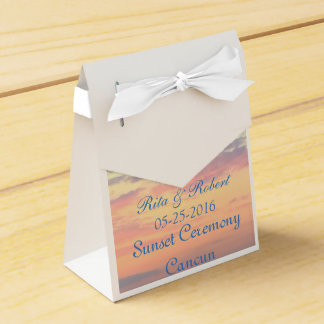 Sonnenuntergang-Hochzeit in Geschenkkartons