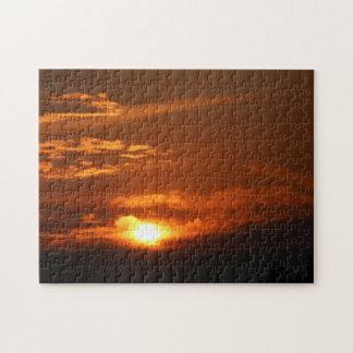 Sonnenuntergang im Flachkopfpuzzlespiel
