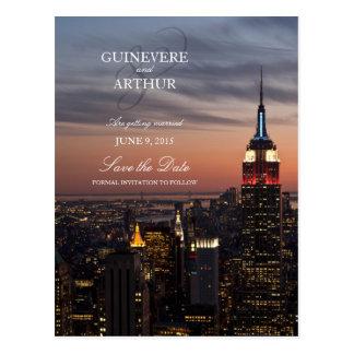 Sonnenuntergang Manhattans New York, der Save the Postkarte