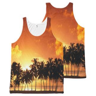 Sonnenuntergang-Palmen-Shirt Komplett Bedrucktes Tanktop