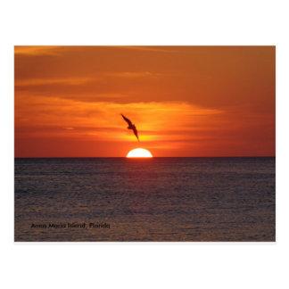 Sonnenuntergang-Postkarte Postkarte