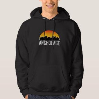Sonnenuntergang-Skyline des Anchorages AK Hoodie
