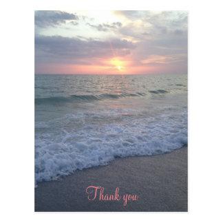 Sonnenuntergang-Strand danken Ihnen Postkarte