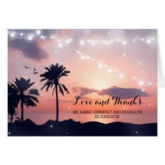 Sonnenuntergang-Strand-Hochzeit danken Ihnen Mitteilungskarte